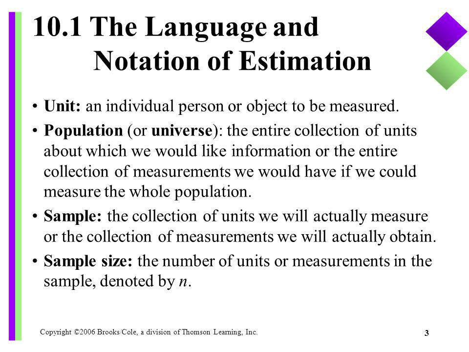 Copyright ©2006 Brooks/Cole, a division of Thomson Learning, Inc. 3 10.1 The Language and Notation of Estimation Unit: an individual person or object