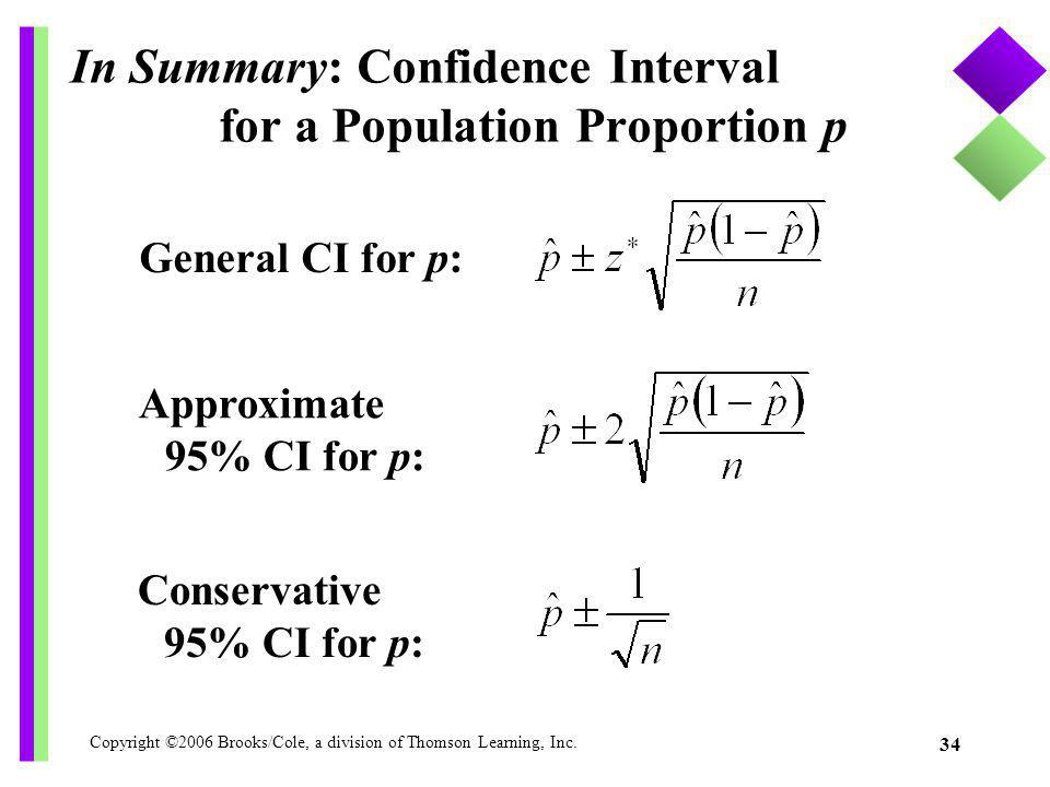 Copyright ©2006 Brooks/Cole, a division of Thomson Learning, Inc. 34 General CI for p: In Summary: Confidence Interval for a Population Proportion p A