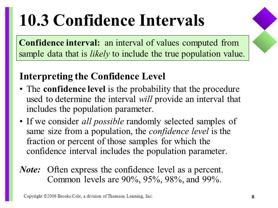 Copyright ©2006 Brooks/Cole, a division of Thomson Learning, Inc. 8 10.3 Confidence Intervals Interpreting the Confidence Level The confidence level i