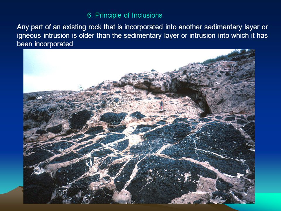 6. Principle of Inclusions Any part of an existing rock that is incorporated into another sedimentary layer or igneous intrusion is older than the sed