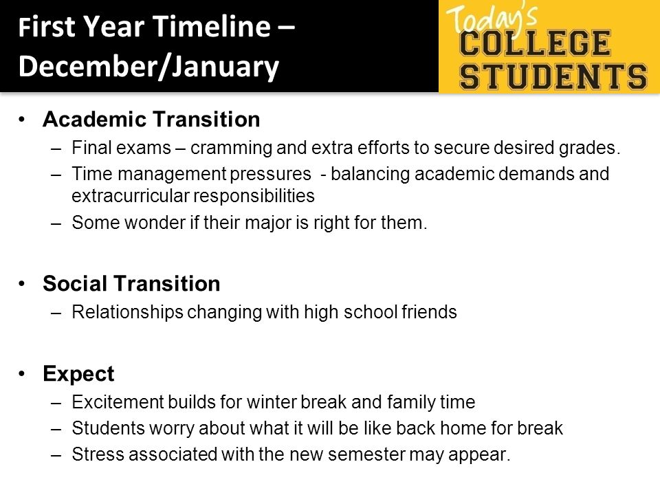 F irst Year Timeline – December/January Academic Transition –Final exams – cramming and extra efforts to secure desired grades.