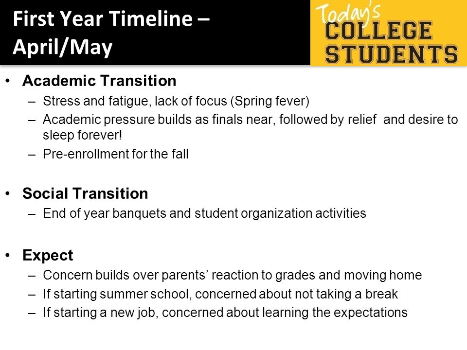 First Year Timeline – April/May Academic Transition –Stress and fatigue, lack of focus (Spring fever) –Academic pressure builds as finals near, followed by relief and desire to sleep forever.