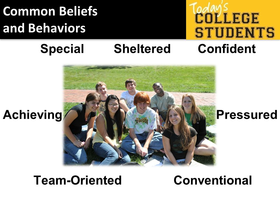 Common Beliefs and Behaviors Special Sheltered Confident Achieving Pressured Team-Oriented Conventional