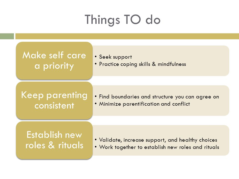 Things TO do Seek support Practice coping skills & mindfulness Make self care a priority Find boundaries and structure you can agree on Minimize parentification and conflict Keep parenting consistent Validate, increase support, and healthy choices Work together to establish new roles and rituals Establish new roles & rituals