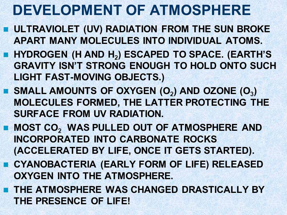 ATMOSPHERE AND OCEANS ATMOSPHERE AND OCEANS FORMED VIA: –BOMBARDMENT BY COMETS AND ASTEROIDS –OUTGASSING (RELEASE OF GAS PREVIOUSLY TRAPPED INSIDE ROC