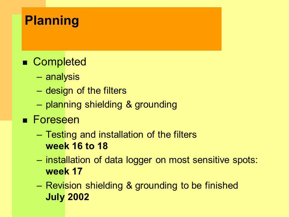 Planning n Completed –analysis –design of the filters –planning shielding & grounding n Foreseen –Testing and installation of the filters week 16 to 18 –installation of data logger on most sensitive spots: week 17 –Revision shielding & grounding to be finished July 2002