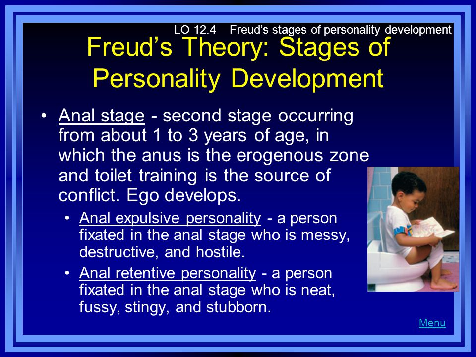 Freuds Theory: Stages of Personality Development Anal stage - second stage occurring from about 1 to 3 years of age, in which the anus is the erogenou