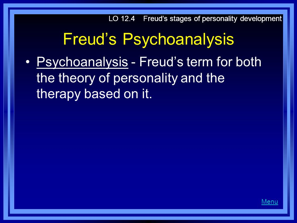 Freuds Psychoanalysis Psychoanalysis - Freuds term for both the theory of personality and the therapy based on it. LO 12.4 Freuds stages of personalit