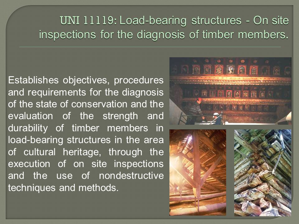 Establishes objectives, procedures and requirements for the diagnosis of the state of conservation and the evaluation of the strength and durability of timber members in load-bearing structures in the area of cultural heritage, through the execution of on site inspections and the use of nondestructive techniques and methods.