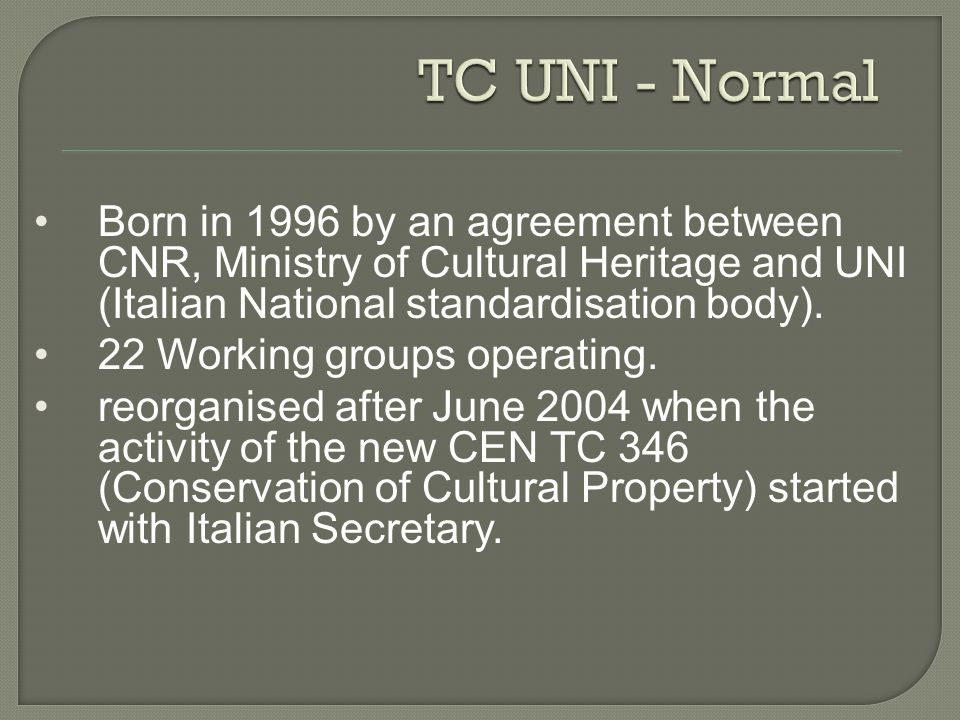 Born in 1996 by an agreement between CNR, Ministry of Cultural Heritage and UNI (Italian National standardisation body). 22 Working groups operating.