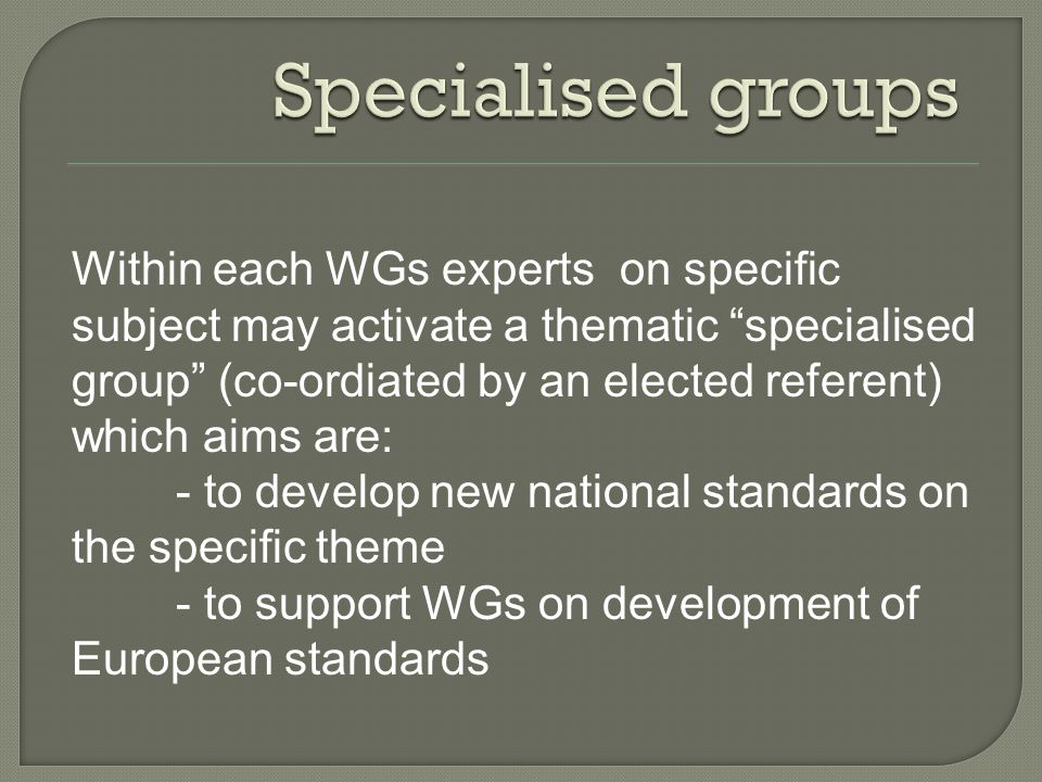 Within each WGs experts on specific subject may activate a thematic specialised group (co-ordiated by an elected referent) which aims are: - to develo