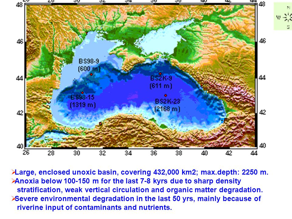 Large, enclosed unoxic basin, covering 432,000 km2; max.depth: 2250 m.