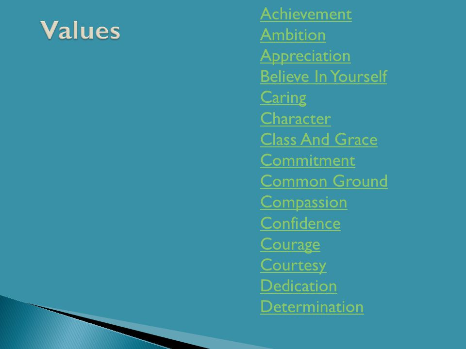 Achievement Ambition Appreciation Believe In Yourself Caring Character Class And Grace Commitment Common Ground Compassion Confidence Courage Courtesy