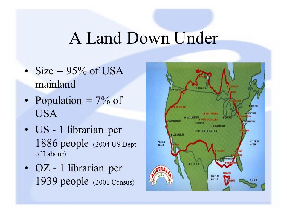 A Land Down Under Size = 95% of USA mainland Population = 7% of USA US - 1 librarian per 1886 people (2004 US Dept of Labour) OZ - 1 librarian per 1939 people (2001 Census)