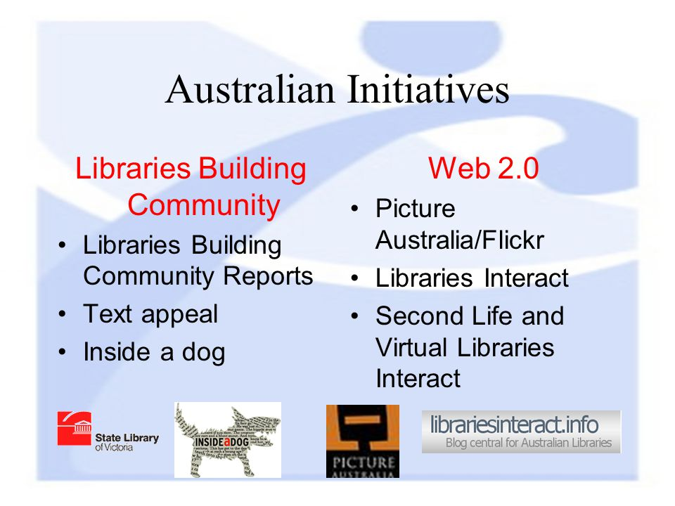 Australian Initiatives Libraries Building Community Libraries Building Community Reports Text appeal Inside a dog Web 2.0 Picture Australia/Flickr Libraries Interact Second Life and Virtual Libraries Interact