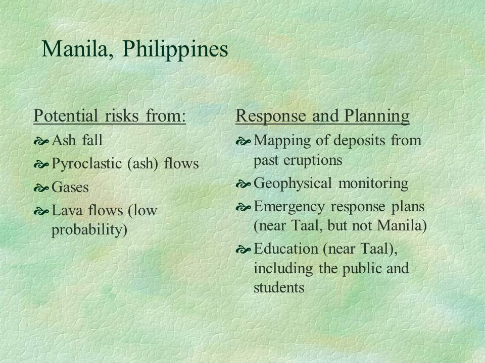 Manila, Philippines Potential risks from: Ash fall Pyroclastic (ash) flows Gases Lava flows (low probability) Response and Planning Mapping of deposit