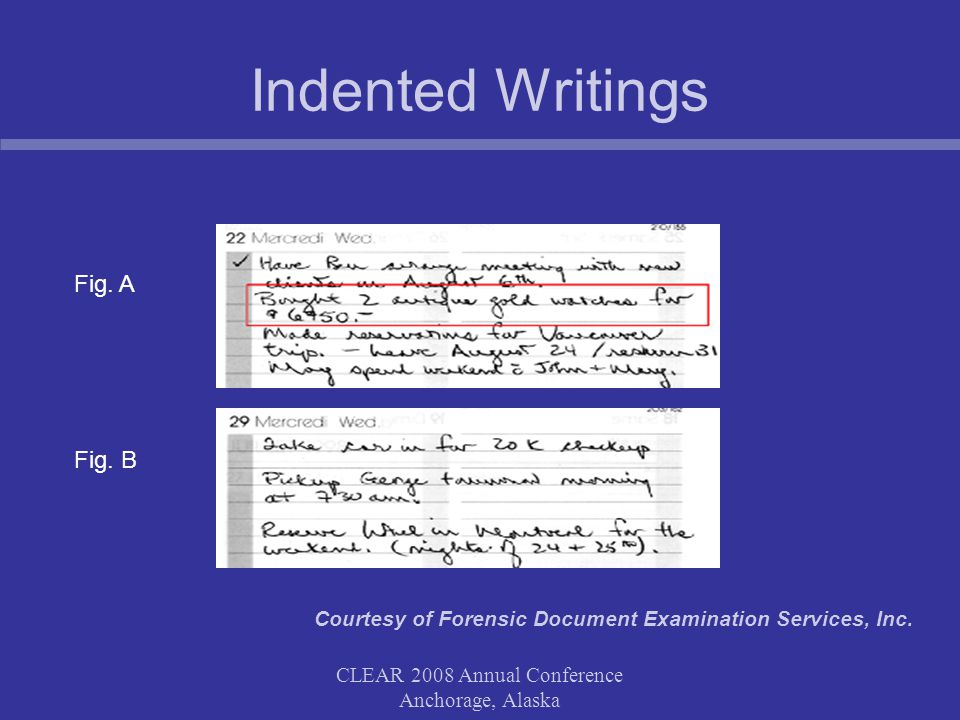 CLEAR 2008 Annual Conference Anchorage, Alaska Case Example Comparative Handwriting Interesting Facts: The analysis was aided by the fact that every prescription contained the exact same phrases and sequences of letters and words.