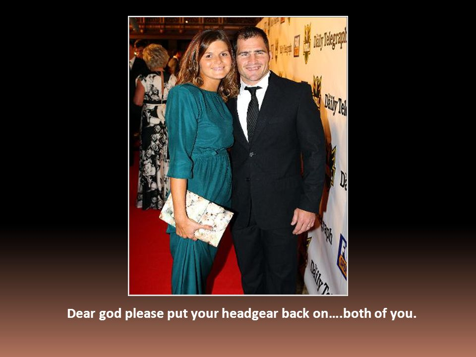 Dear god please put your headgear back on….both of you.