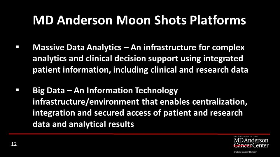 MD Anderson Moon Shots Platforms 12 Massive Data Analytics – An infrastructure for complex analytics and clinical decision support using integrated pa