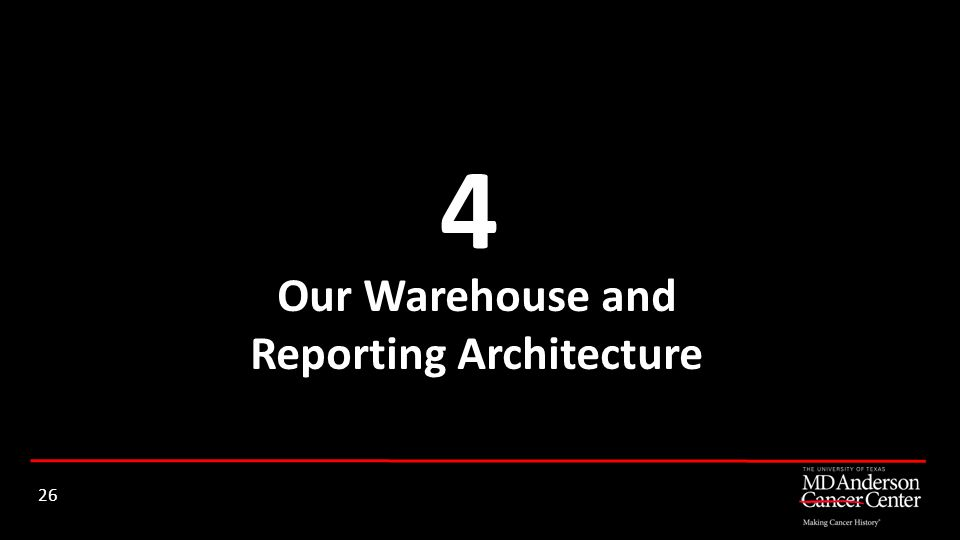 Our Warehouse and Reporting Architecture 4 26