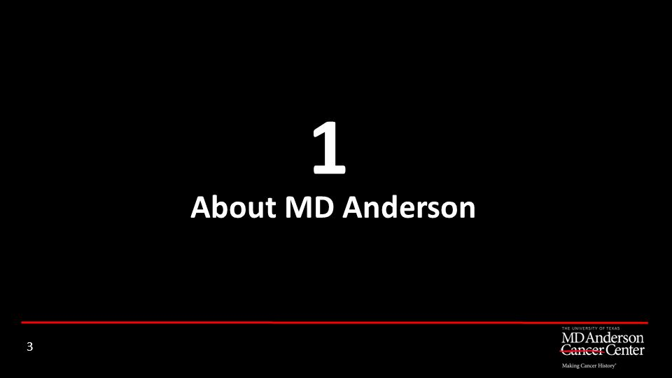 About MD Anderson 1 3