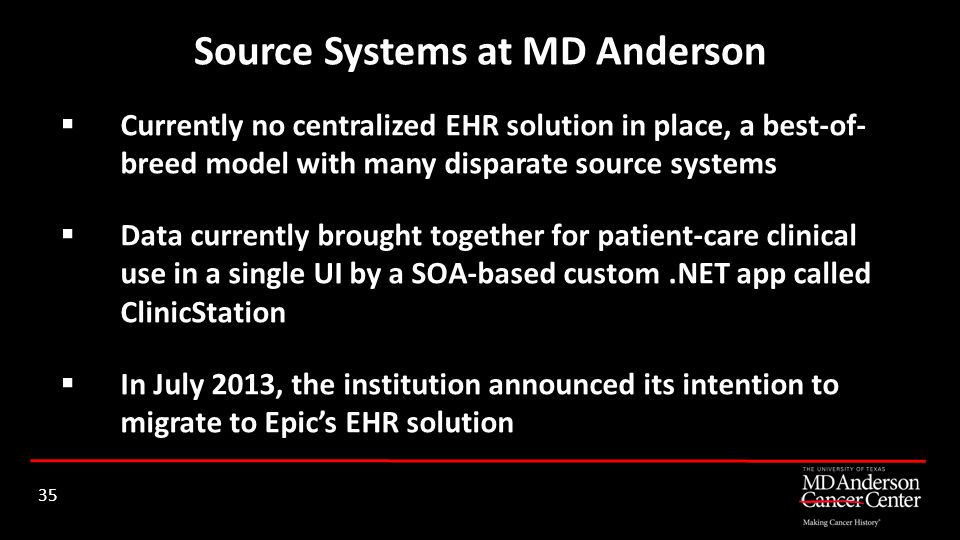 Currently no centralized EHR solution in place, a best-of- breed model with many disparate source systems Data currently brought together for patient-