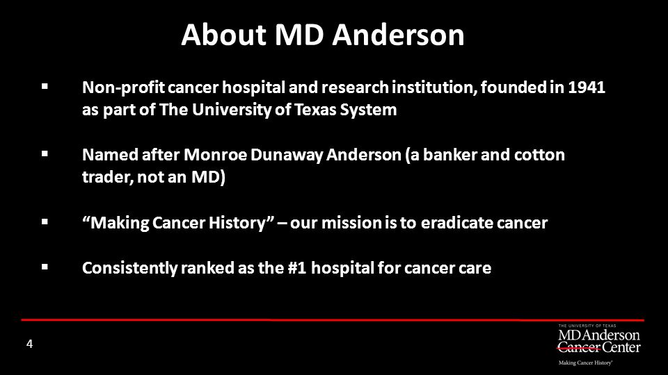 Non-profit cancer hospital and research institution, founded in 1941 as part of The University of Texas System Named after Monroe Dunaway Anderson (a