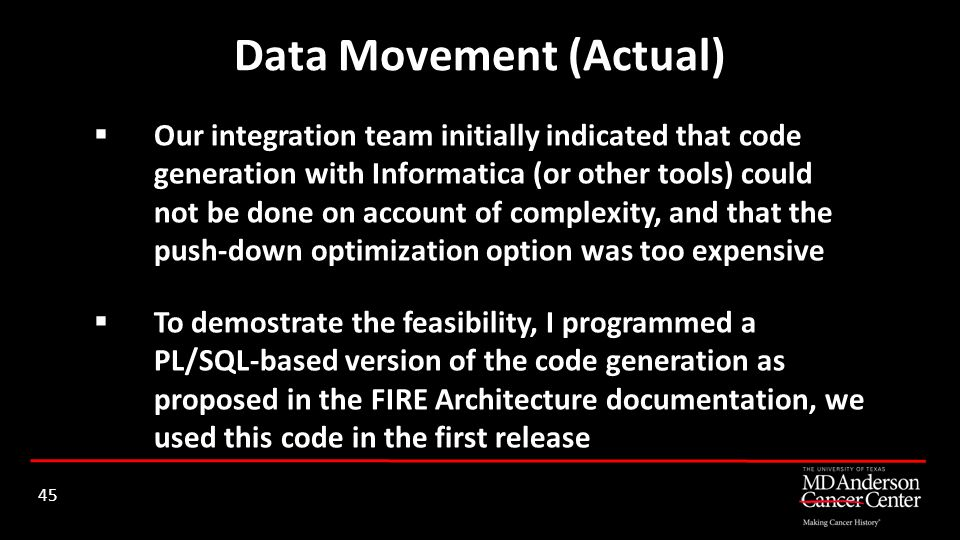 Our integration team initially indicated that code generation with Informatica (or other tools) could not be done on account of complexity, and that t