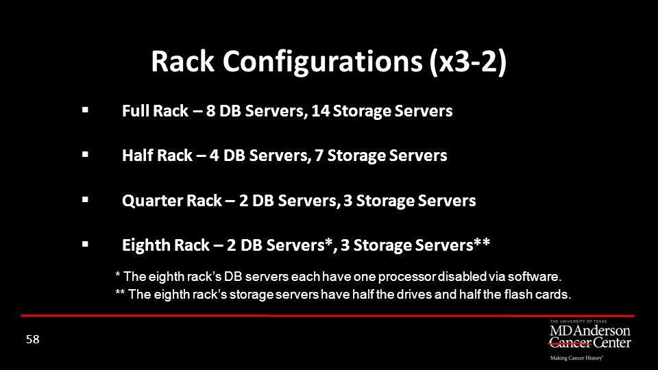 Full Rack – 8 DB Servers, 14 Storage Servers Half Rack – 4 DB Servers, 7 Storage Servers Quarter Rack – 2 DB Servers, 3 Storage Servers Eighth Rack –