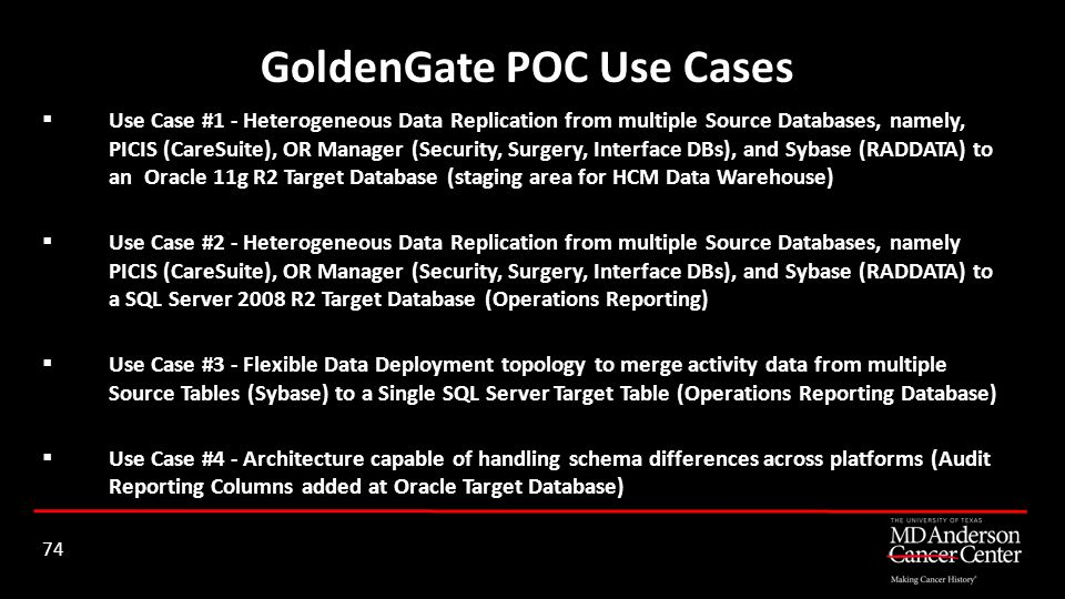 Use Case #1 - Heterogeneous Data Replication from multiple Source Databases, namely, PICIS (CareSuite), OR Manager (Security, Surgery, Interface DBs),