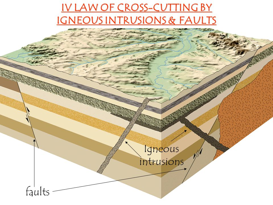 IV LAW OF CROSS-CUTTING BY IGNEOUS INTRUSIONS & FAULTS faults Igneous intrusions