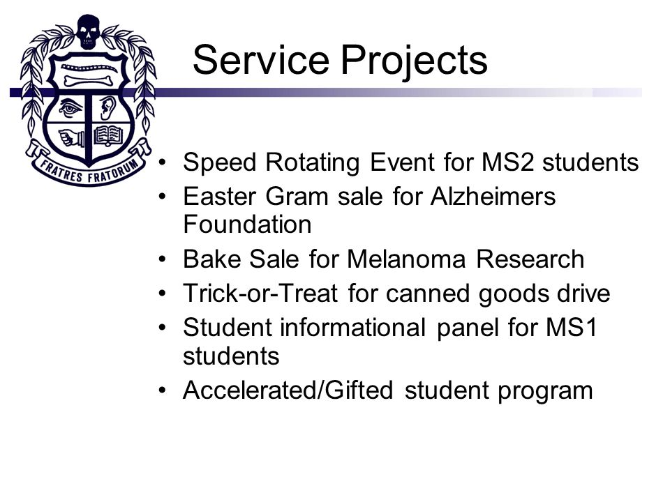 Service Projects Speed Rotating Event for MS2 students Easter Gram sale for Alzheimers Foundation Bake Sale for Melanoma Research Trick-or-Treat for canned goods drive Student informational panel for MS1 students Accelerated/Gifted student program