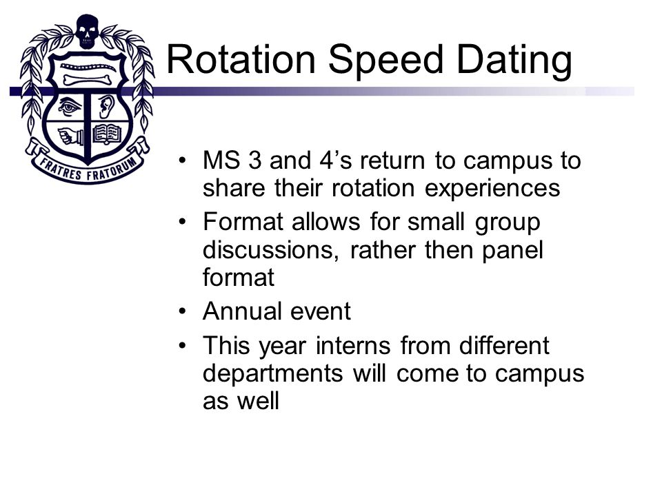 Rotation Speed Dating MS 3 and 4s return to campus to share their rotation experiences Format allows for small group discussions, rather then panel format Annual event This year interns from different departments will come to campus as well
