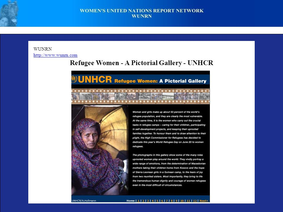 WUNRN http://www.wunrn.com Refugee Women - A Pictorial Gallery - UNHCR