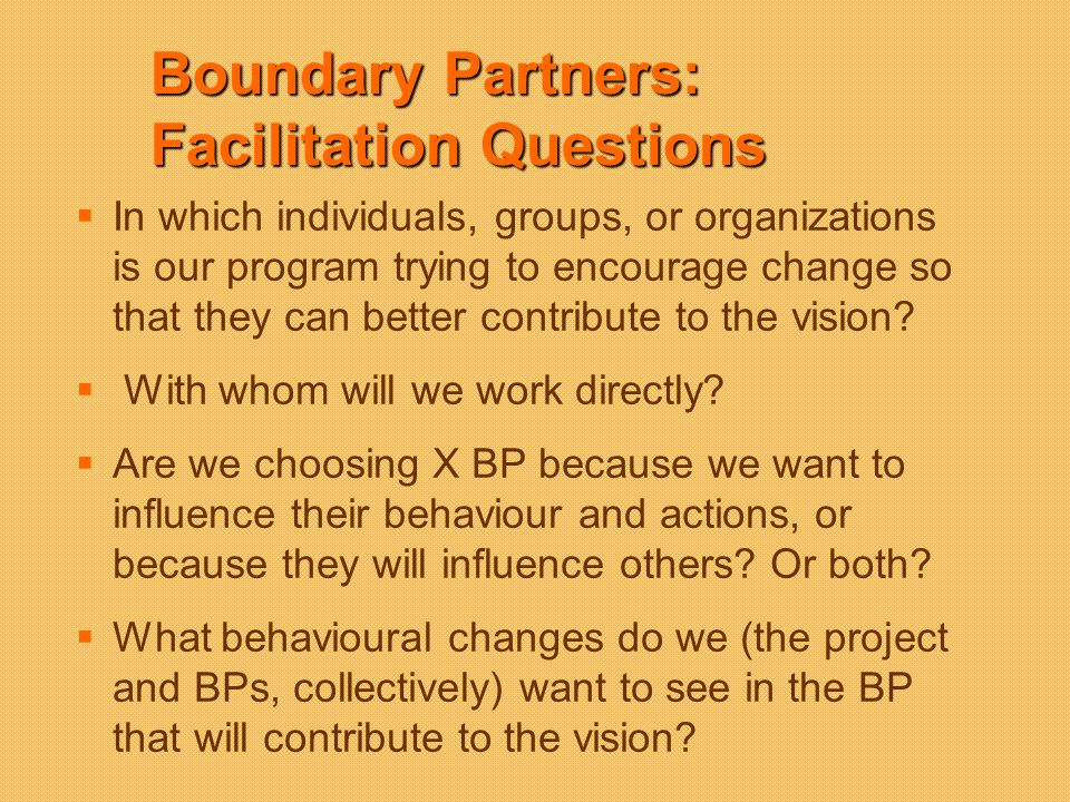 In which individuals, groups, or organizations is our program trying to encourage change so that they can better contribute to the vision.