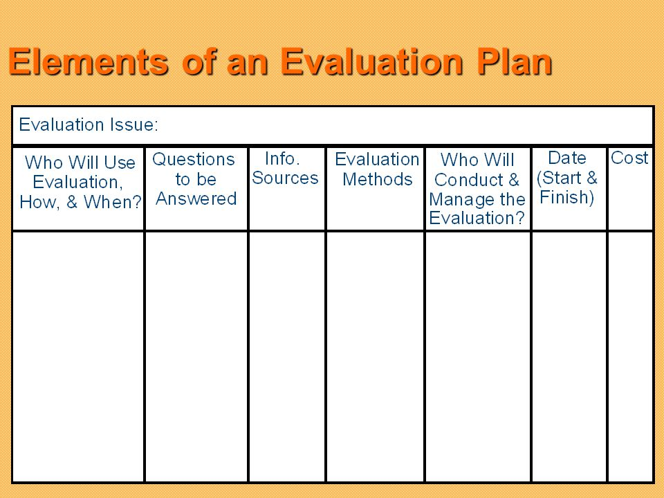 Elements of an Evaluation Plan