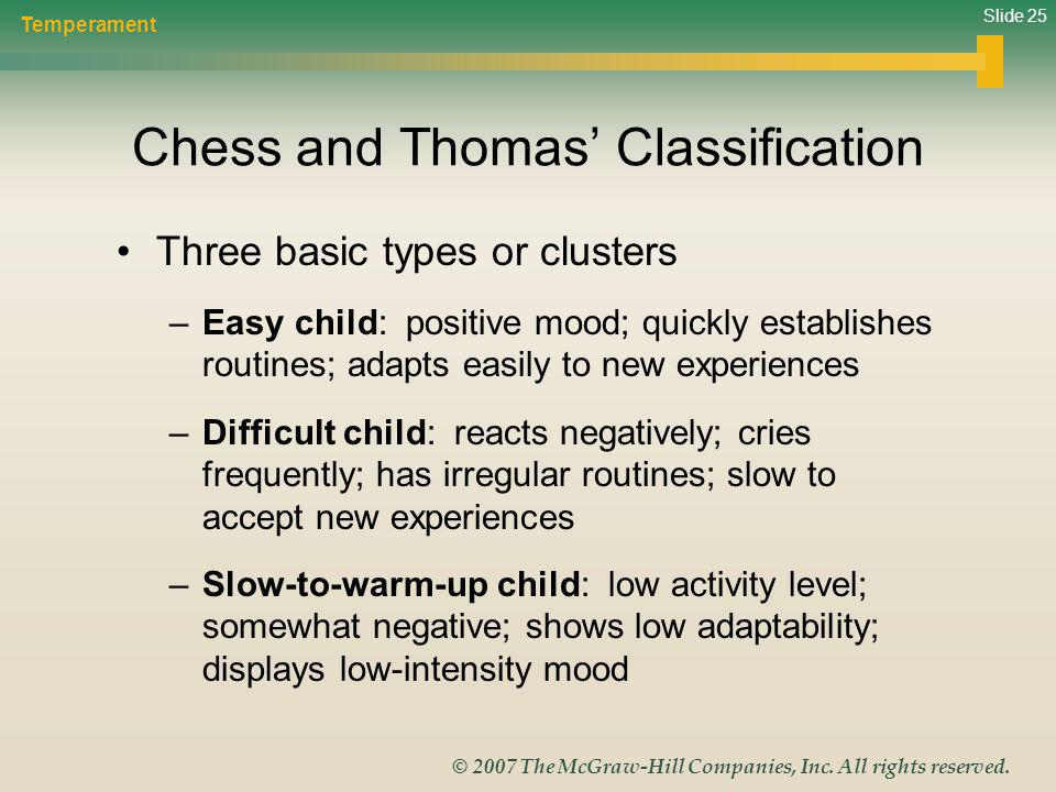 Slide 25 © 2007 The McGraw-Hill Companies, Inc. All rights reserved. Chess and Thomas Classification Three basic types or clusters –Easy child: positi