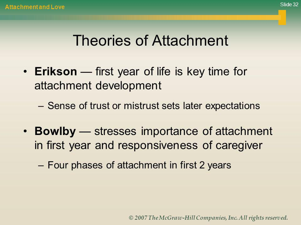Slide 32 © 2007 The McGraw-Hill Companies, Inc. All rights reserved. Theories of Attachment Erikson first year of life is key time for attachment deve