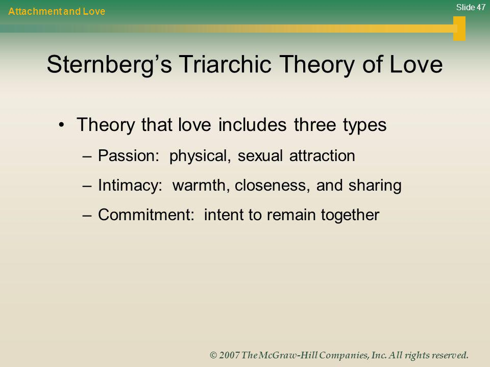 Slide 47 © 2007 The McGraw-Hill Companies, Inc. All rights reserved. Sternbergs Triarchic Theory of Love Theory that love includes three types –Passio