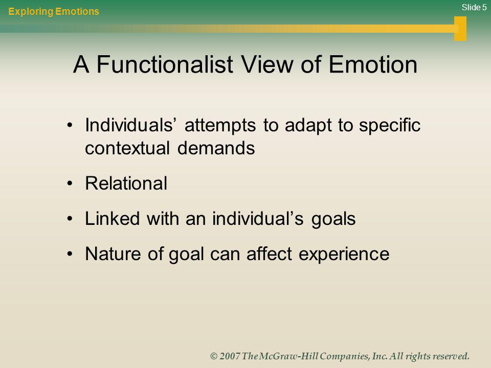 Slide 5 © 2007 The McGraw-Hill Companies, Inc. All rights reserved. A Functionalist View of Emotion Individuals attempts to adapt to specific contextu