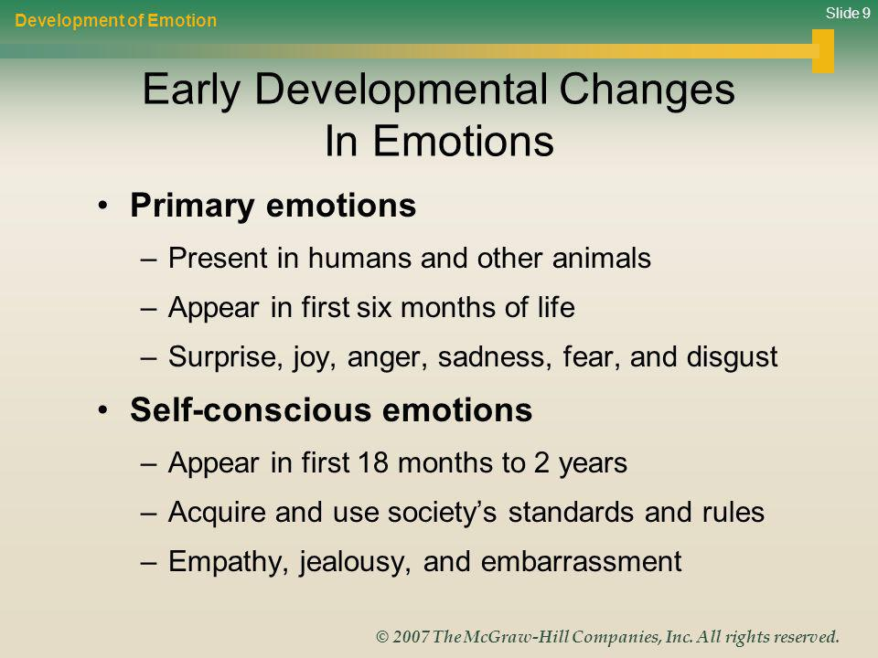 Slide 9 © 2007 The McGraw-Hill Companies, Inc. All rights reserved. Early Developmental Changes In Emotions Development of Emotion Primary emotions –P