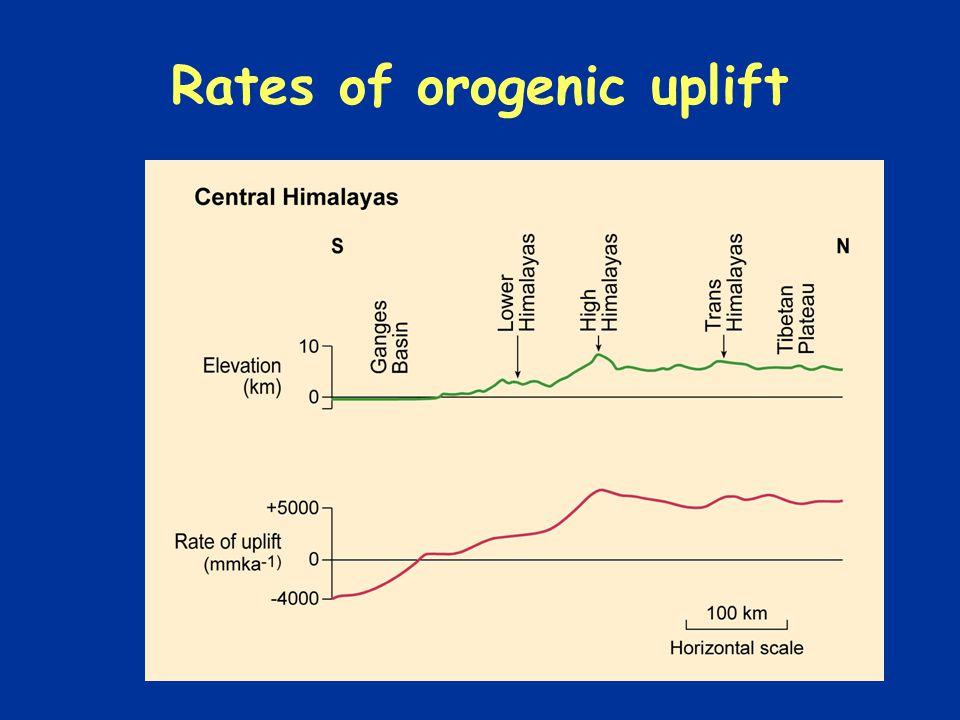 Rates of orogenic uplift