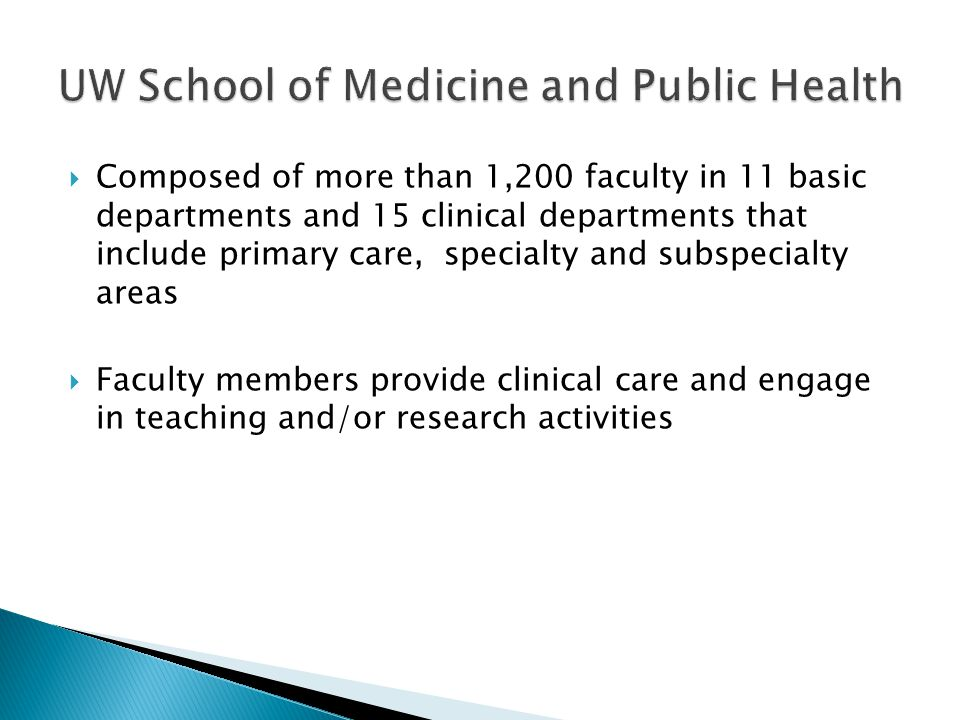 Composed of more than 1,200 faculty in 11 basic departments and 15 clinical departments that include primary care, specialty and subspecialty areas Faculty members provide clinical care and engage in teaching and/or research activities