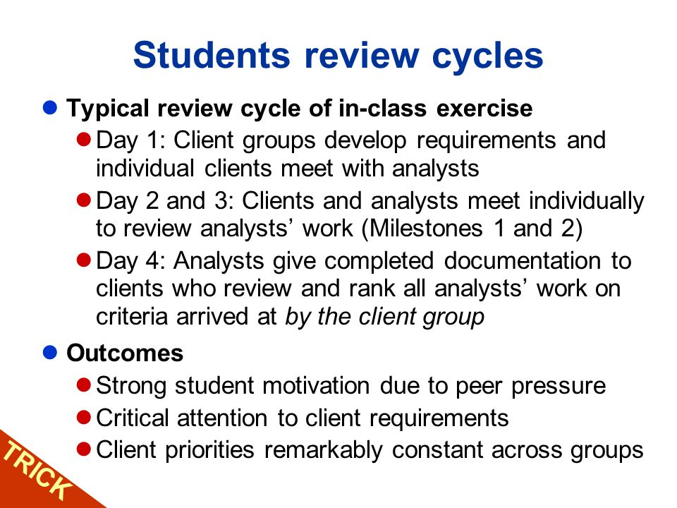TRICK Students review cycles Typical review cycle of in-class exercise Day 1: Client groups develop requirements and individual clients meet with anal