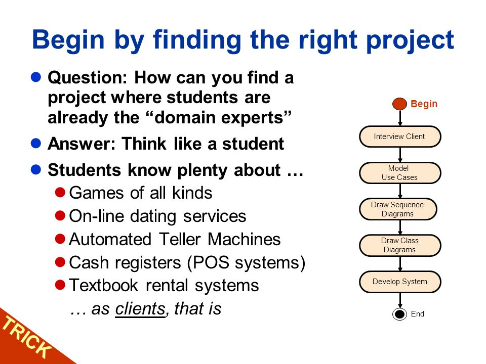 Begin by finding the right project Question: How can you find a project where students are already the domain experts Answer: Think like a student Stu