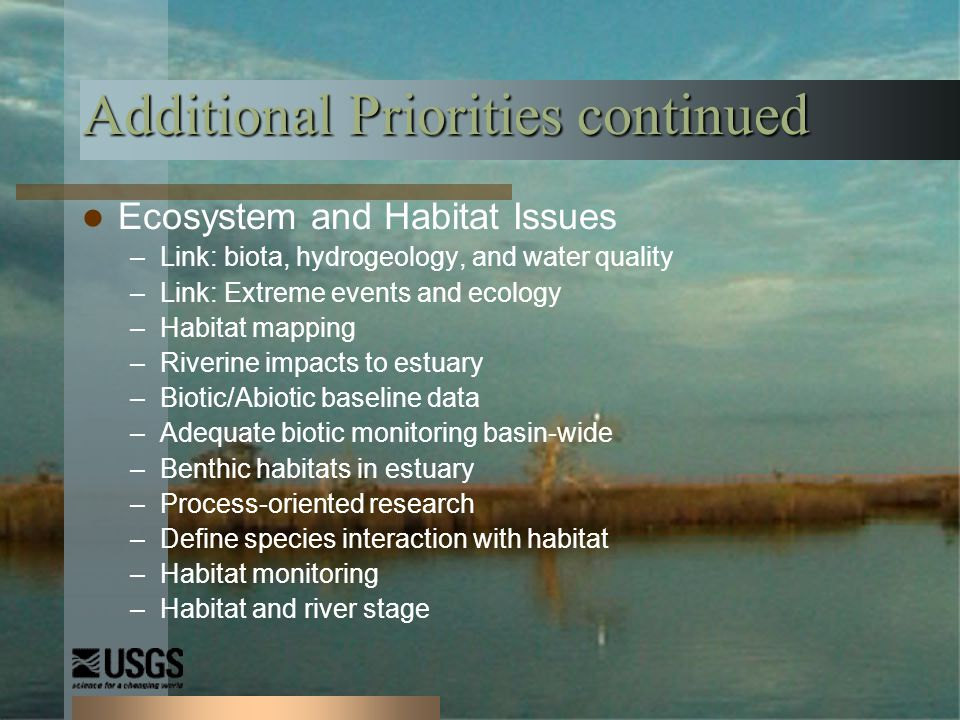 Additional Priorities continued Ecosystem and Habitat Issues –Link: biota, hydrogeology, and water quality –Link: Extreme events and ecology –Habitat mapping –Riverine impacts to estuary –Biotic/Abiotic baseline data –Adequate biotic monitoring basin-wide –Benthic habitats in estuary –Process-oriented research –Define species interaction with habitat –Habitat monitoring –Habitat and river stage
