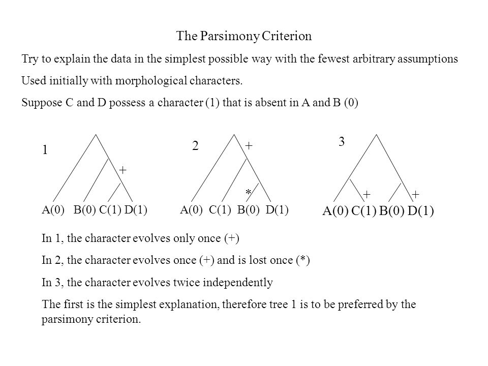 The Parsimony Criterion Try to explain the data in the simplest possible way with the fewest arbitrary assumptions Used initially with morphological characters.