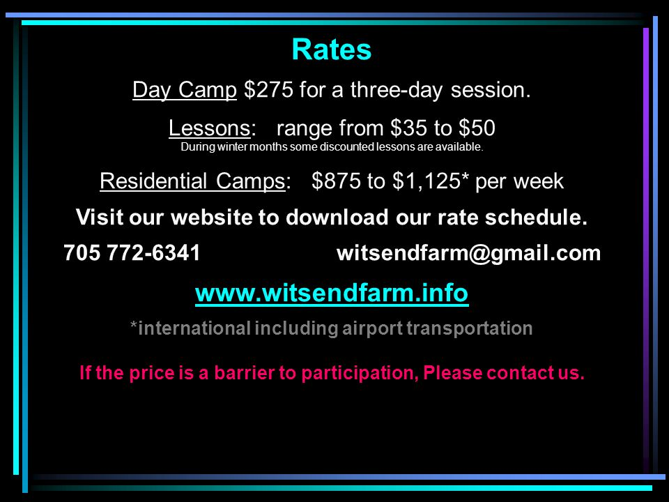 Rates Day Camp $275 for a three-day session.