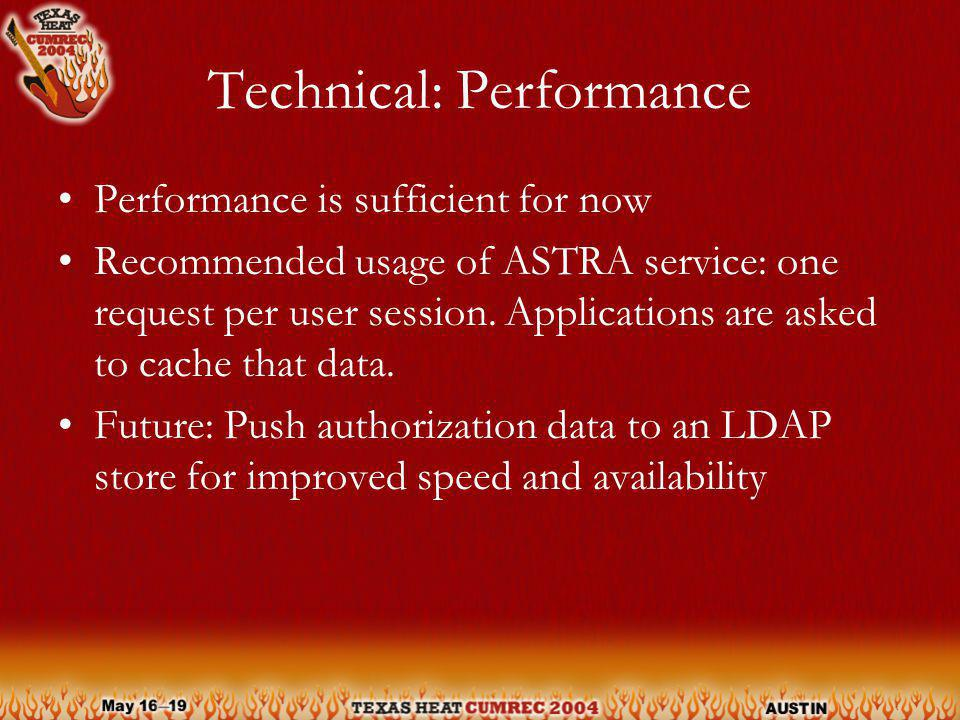 Technical: Performance Performance is sufficient for now Recommended usage of ASTRA service: one request per user session. Applications are asked to c