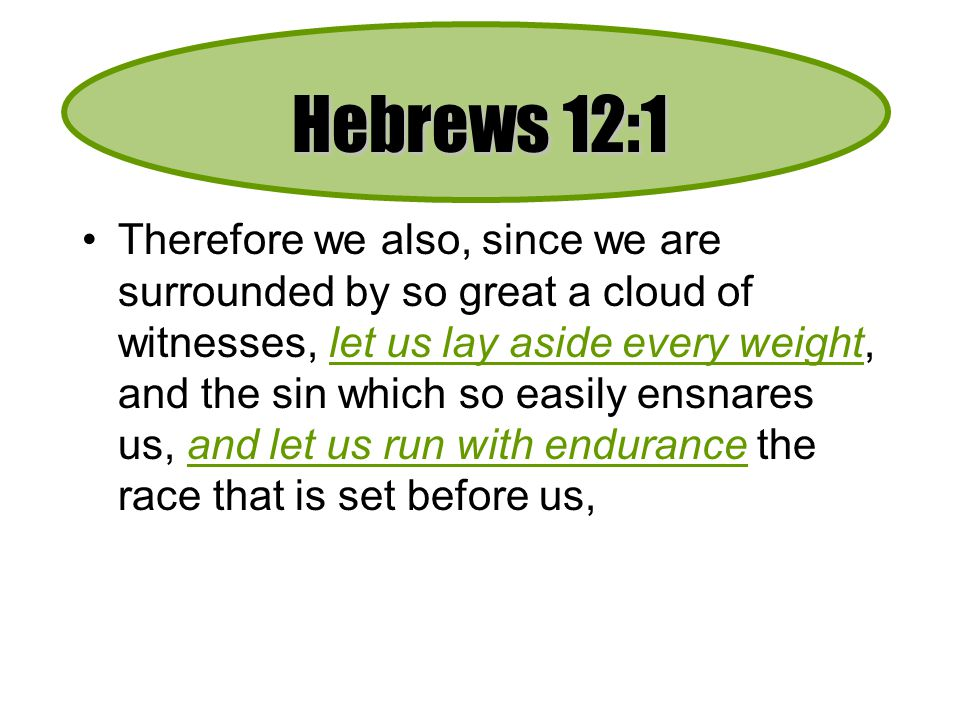 Weight = Hindrance –Not necessarily sinful, but not helpful (1Co.6:12) If desire is to finish - shed the weight.